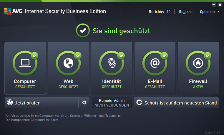 AVG Internet Security Business Edition 2016 Dashboard